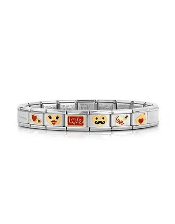 Stainless Steel Bracelet w/Golden Love Emoticons