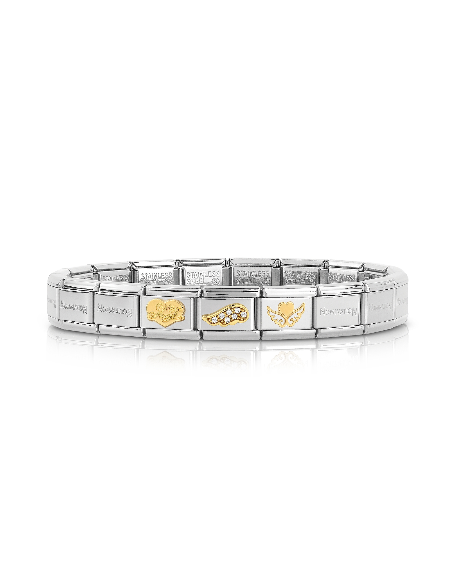 Nomination Bracelets, My Angel and Wings Golden Stainless Steel Bracelet w/Cubic Zirconia