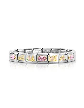 La Vie en Rose Golden Stainless Steel Bracelet w/Cubic Zirconia