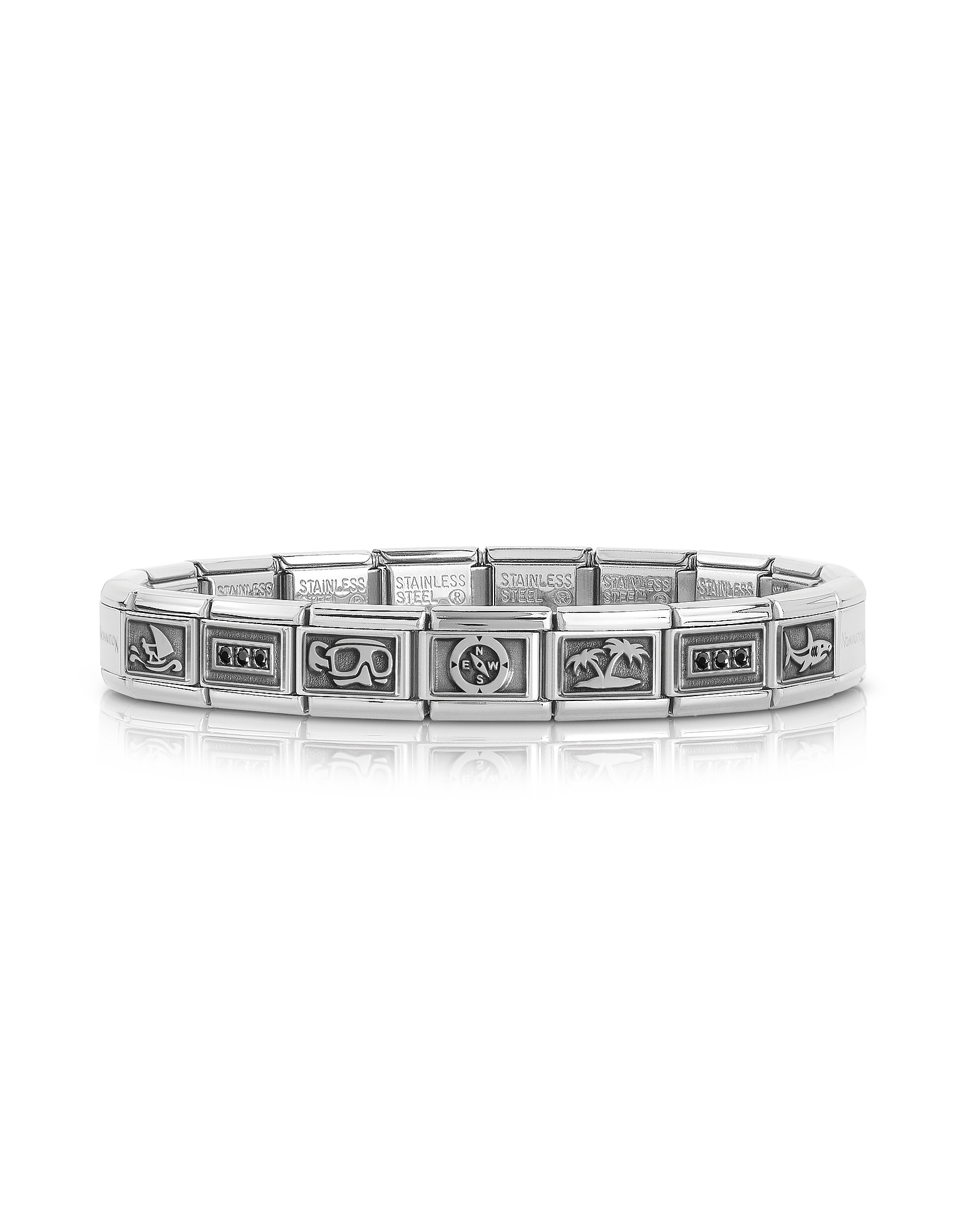 Nomination Men's Bracelets, Summer Sports Stainless Steel Men's Bracelet w/Stearling Silver Symbols