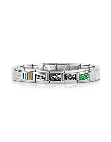 Nomination Winter Sports - Bracelet Homme en Acier Inoxydable et Argent avec Symboles en Émail Multicolore