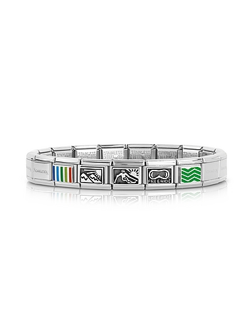 Nomination - Winter Sports Stainless Steel Men's Bracelet w/Stearling Silver & Enamel Symbols