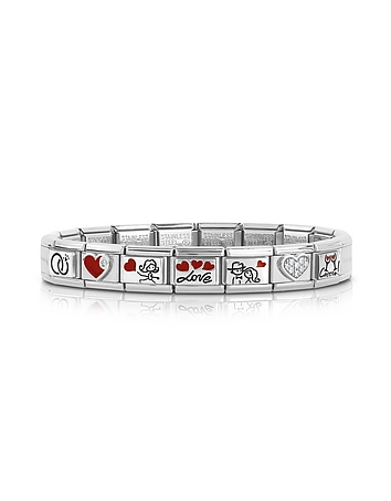 Wedding Stainless Steel Bracelet w/Stearling Silver Symbols and Cubic Zirconia
