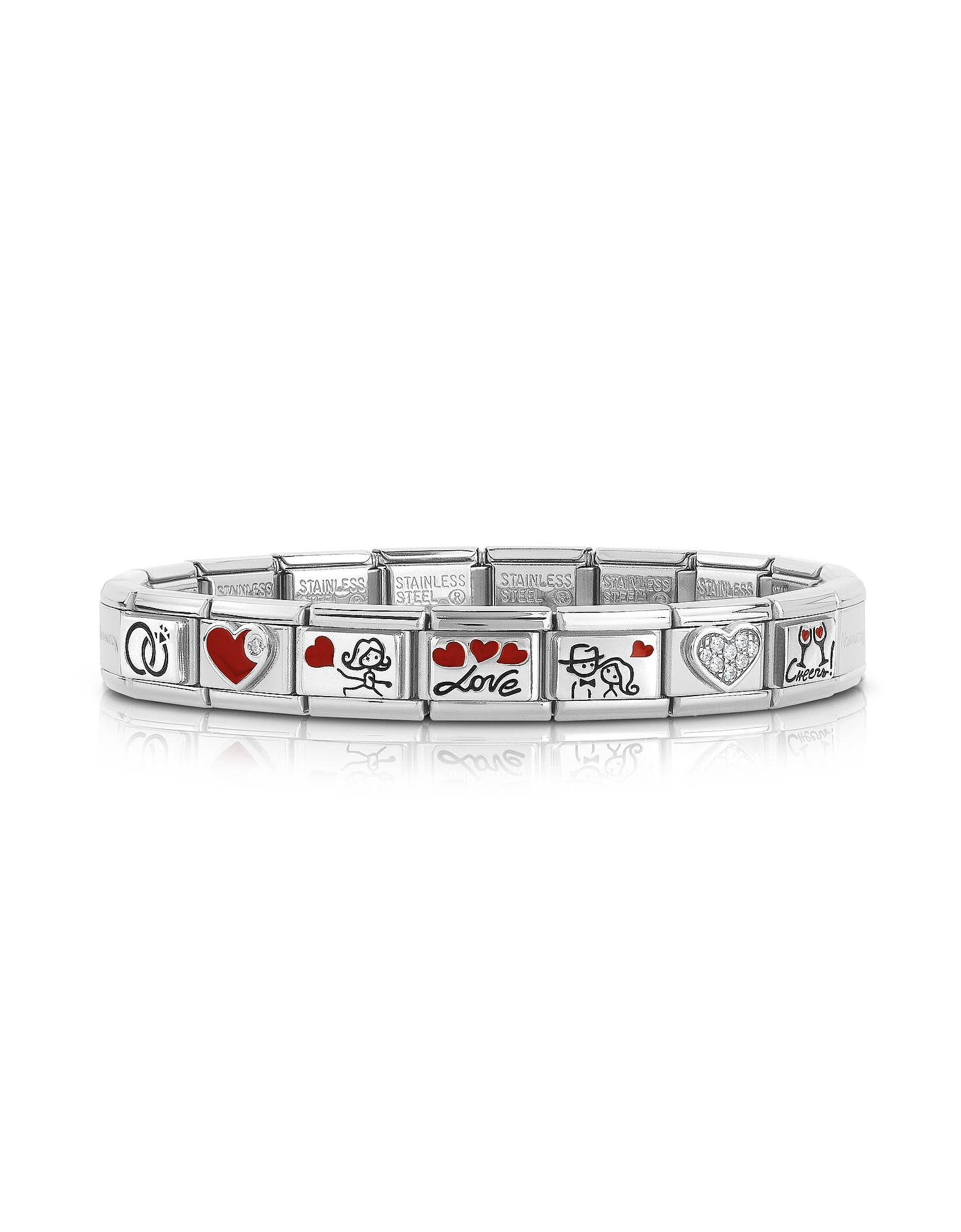 Nomination Bracelets, Wedding Stainless Steel Bracelet w/Stearling Silver Symbols and Cubic Zirconia