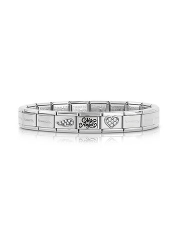Classic My Angel Stainless Steel Women's Bracelet w/Cubic Zirconia