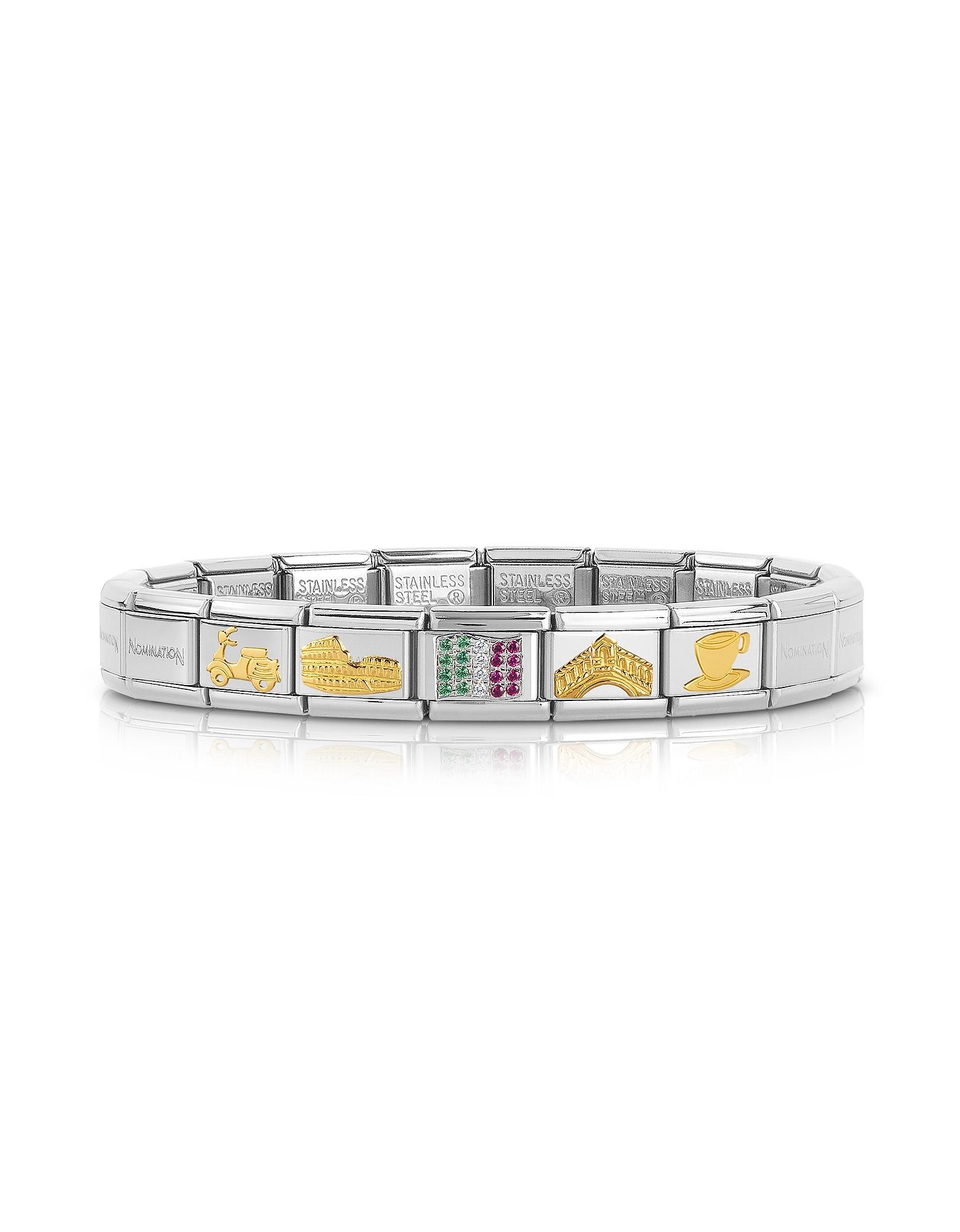 Nomination Bracelets, Classic Italia Golden Stainless Steel Bracelet w/Cubic Zirconia Italian Flag