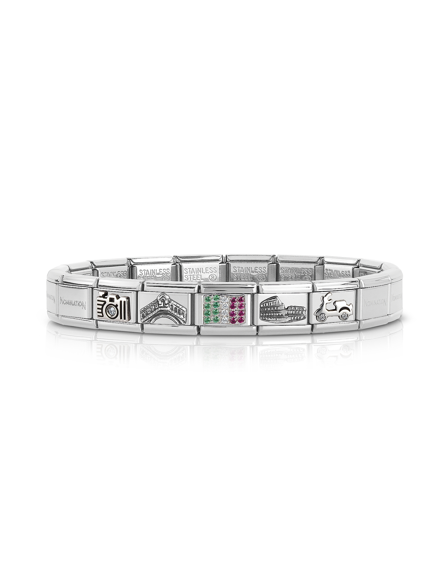 Nomination Bracelets, Travel in Italy Sterarling Silver and Stainless Steel Bracelet w/Cubic Zirconi