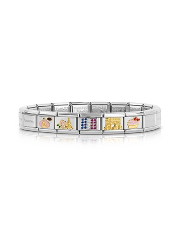 Classic France Golden Stainless Steel  Bracelet w/Cubic Zirconia Flag