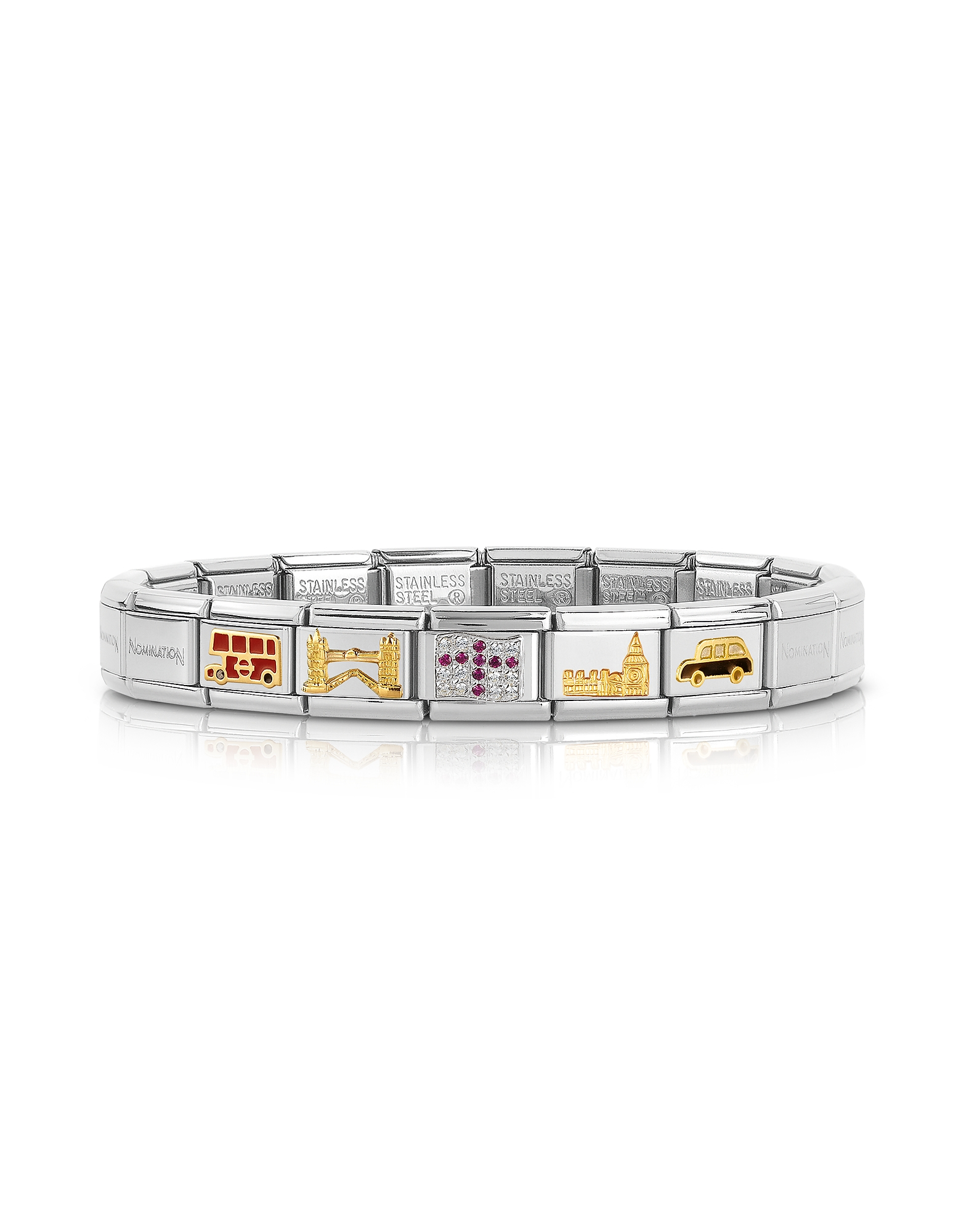 Nomination Bracelets, Classic England Golden Stainless Steel Bracelet w/Cubic Zirconia Flag