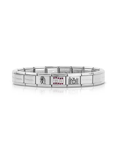 Nomination Classic Austria - Bracelet en Acier Inoxydable et Argent avec Zircons Multicolores