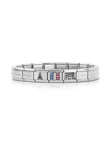 Nomination - Classic Francia Stearling Silver and Stainless Steel Bracelet w/Cubic Zirconia Flag