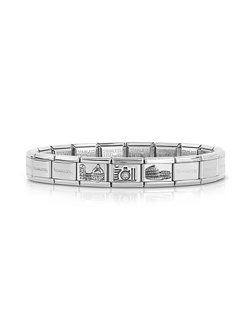 Nomination - Classic Italia Stearling Silver and Stainless Steel Bracelet w/Cubic Zirconia Italian F