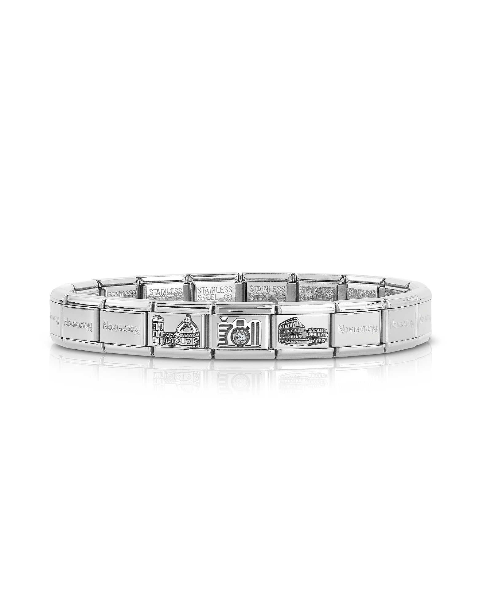 Nomination Designer Bracelets, Classic Italia Stearling Silver and Stainless Steel Bracelet w/Cubic