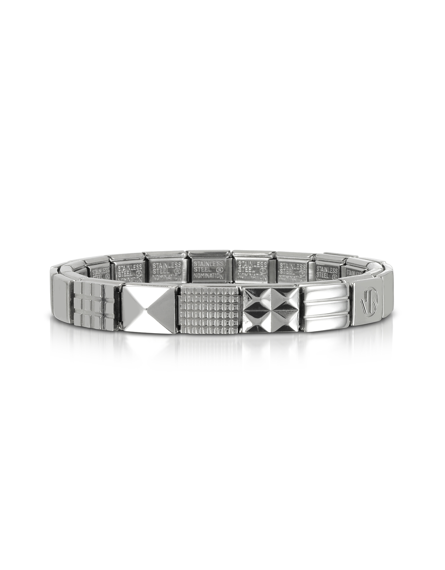 Nomination Men's Bracelets, Steel Ikons Geometric Studs Polished Stainless Steel Bracelet