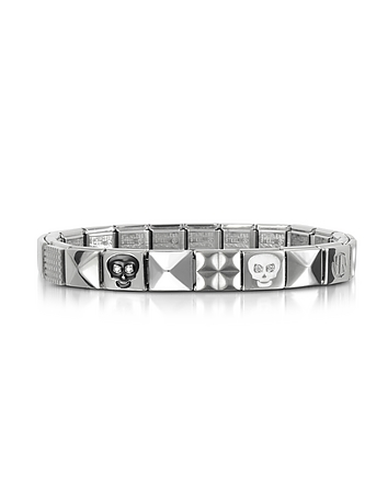 Nomination - Steel Ikons Black & White Skull Stainless Steel Bracelet w/Cubic Zirconia