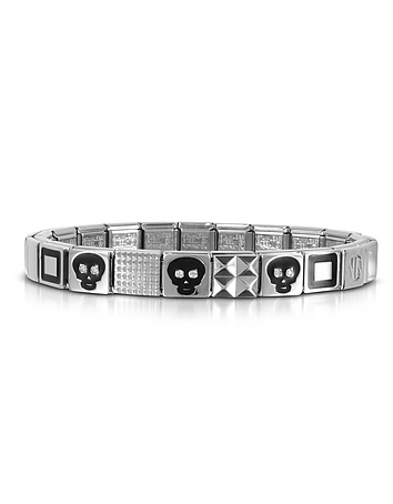 Steel Ikons Black Skull and Squared Symbols Stainless Steel Bracelet w/Cubic..