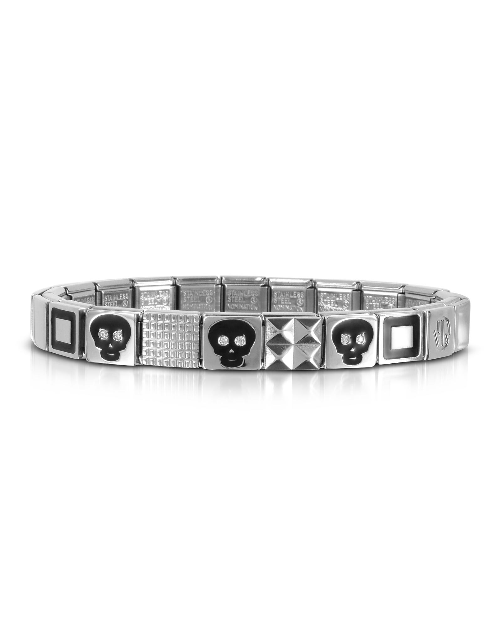 Steel Ikons - Браслет из Нержавеющей Стали с Черными Черепами, Квадратными Символами и Кубиками Циркония