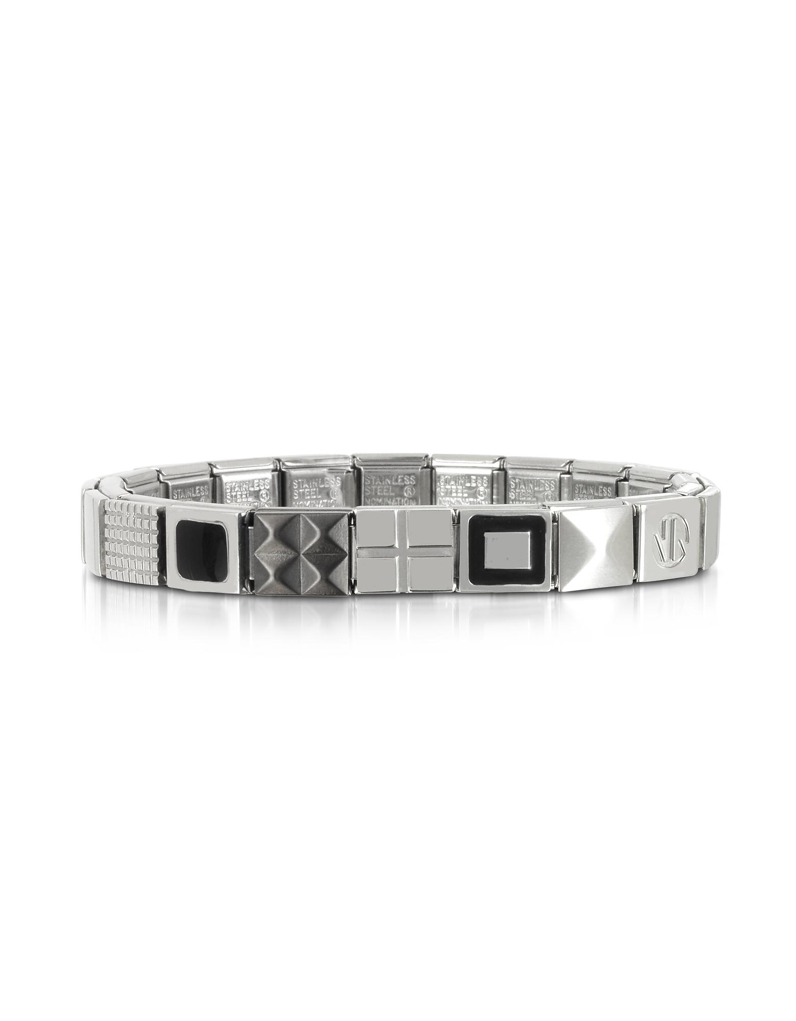 Nomination Men's Bracelets, Steel Ikons Black Enamel and Brushed Stainless Steel Bracelet