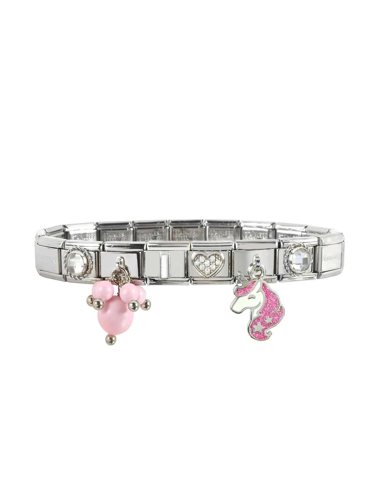 Nomination Designer Bracelets, Pink Unicorn Sterling Silver & Stainless Steel Bracelet