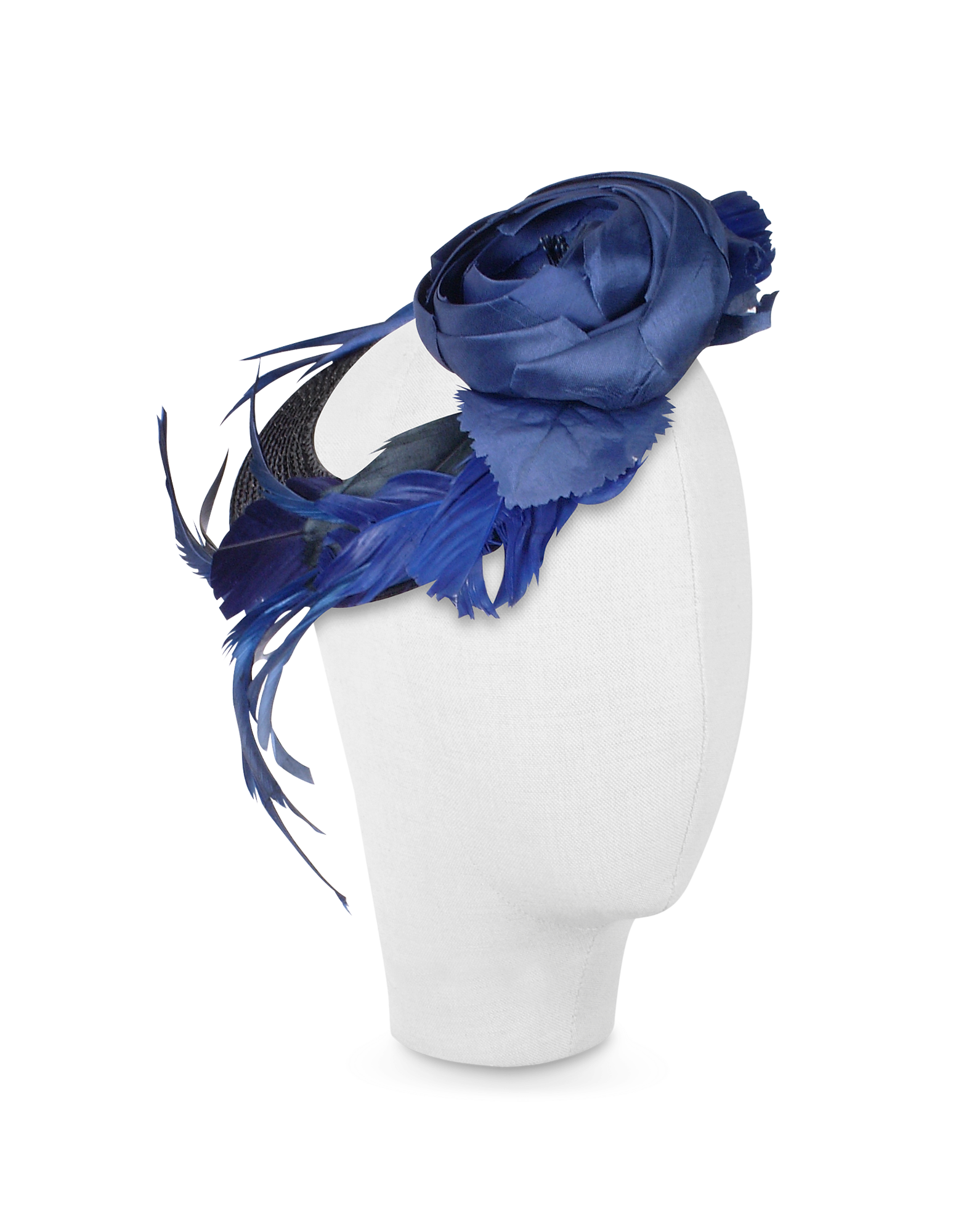 Image of Alba - Night Blue Flower Feather Hat Disc