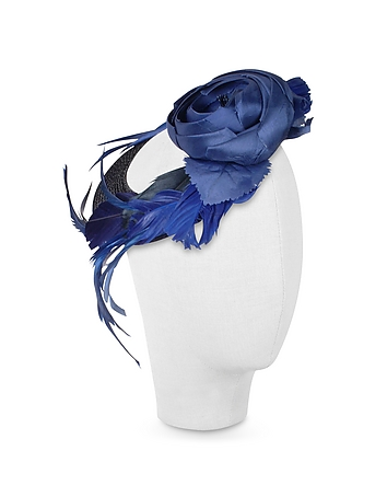Nana' - Alba - Night Blue Flower Feather Hat Disc