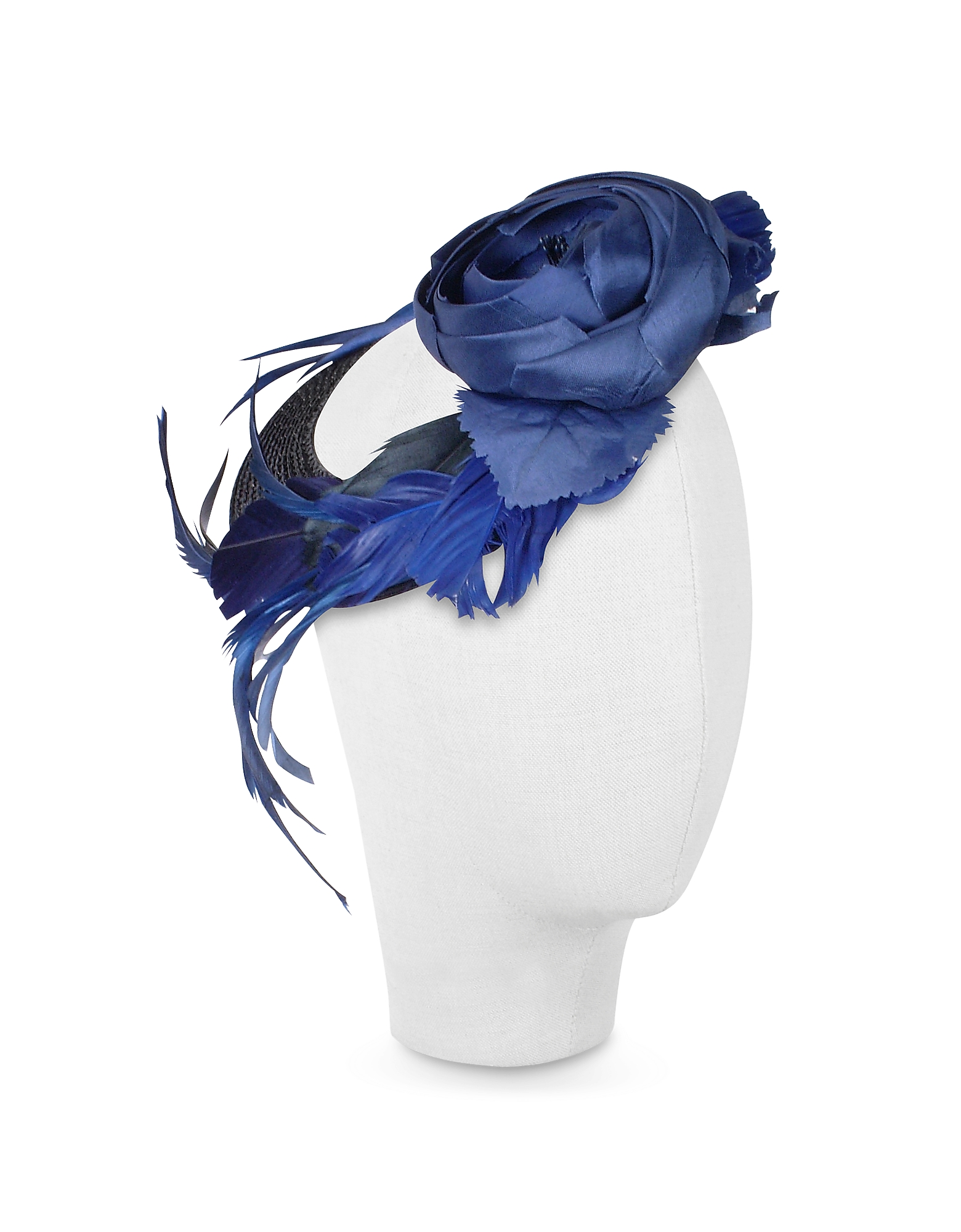Nana' Women's Hats, Alba - Night Blue Flower Feather Hat Disc