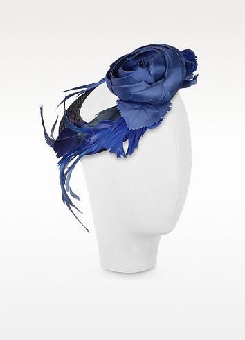Alba - Night Blue Flower Feather Hat Disc - Nana'