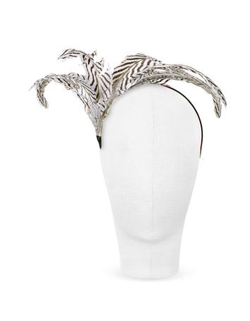 Lux-ID 211718 Beverly - Black and White Feather Flower Headband