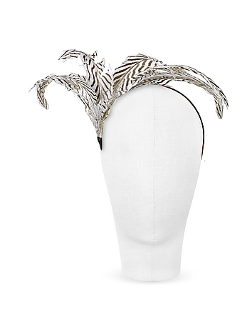 Nana' - Beverly - Black and White Feather Flower Headband
