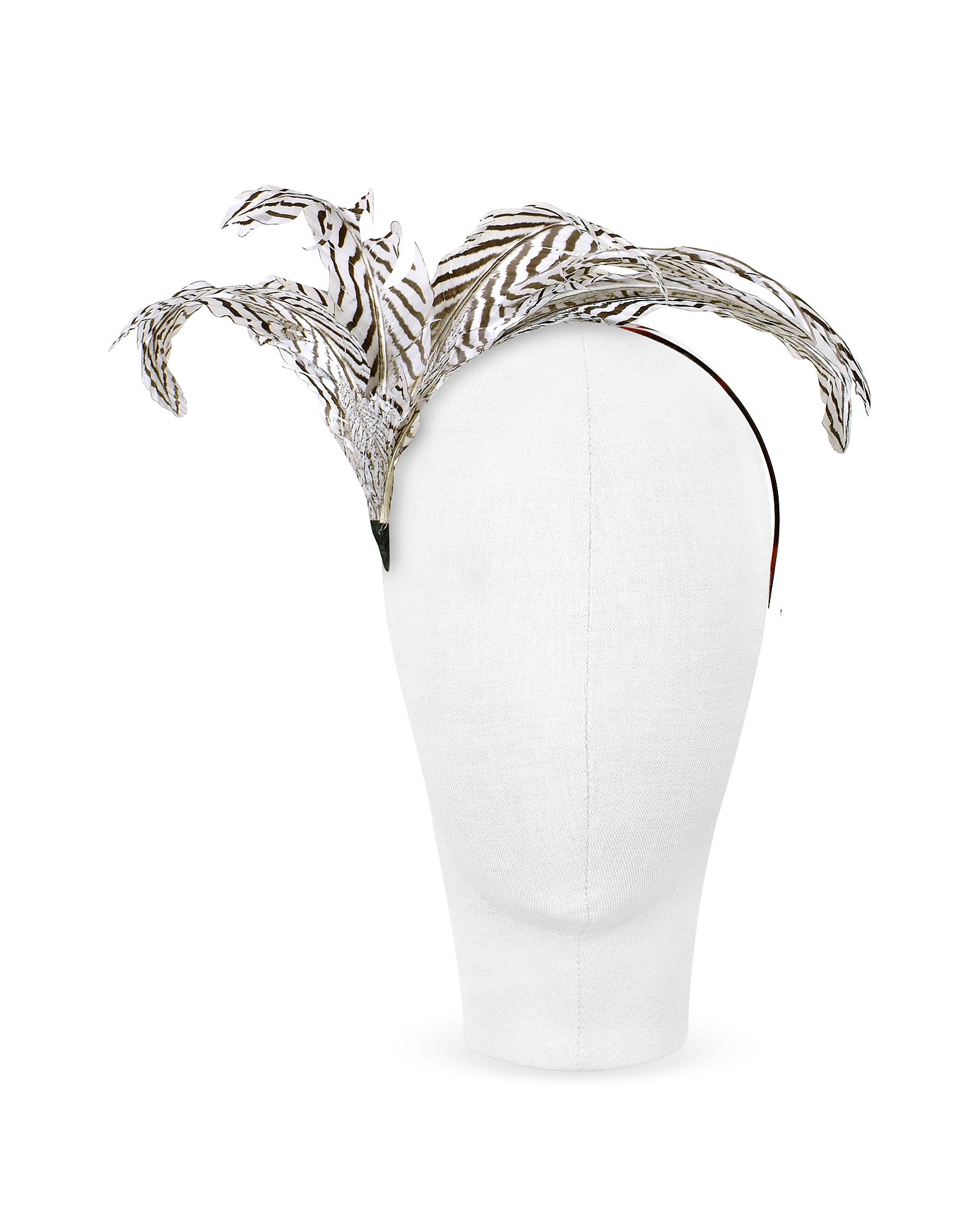 Beverly - Black and White Feather Flower Headband