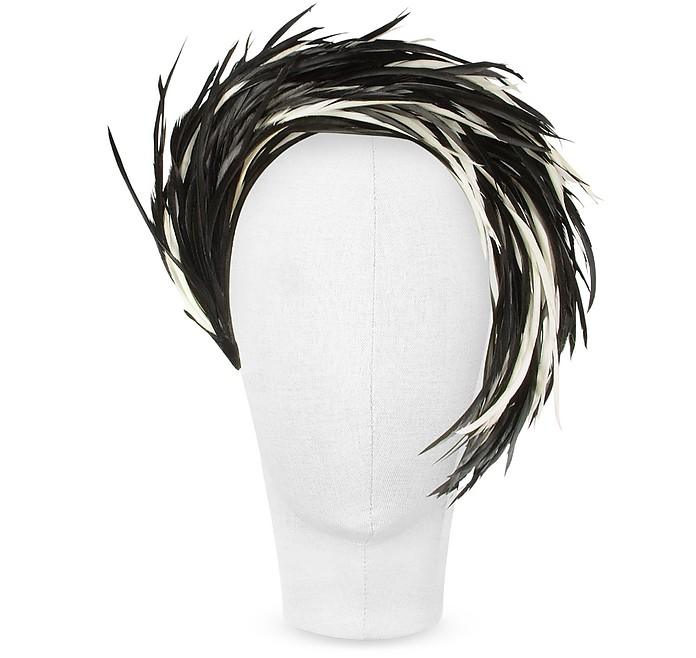 Aurora - Black and White Feather Headband  - Nana'