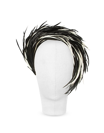 Nana' - Aurora - Black and White Feather Headband
