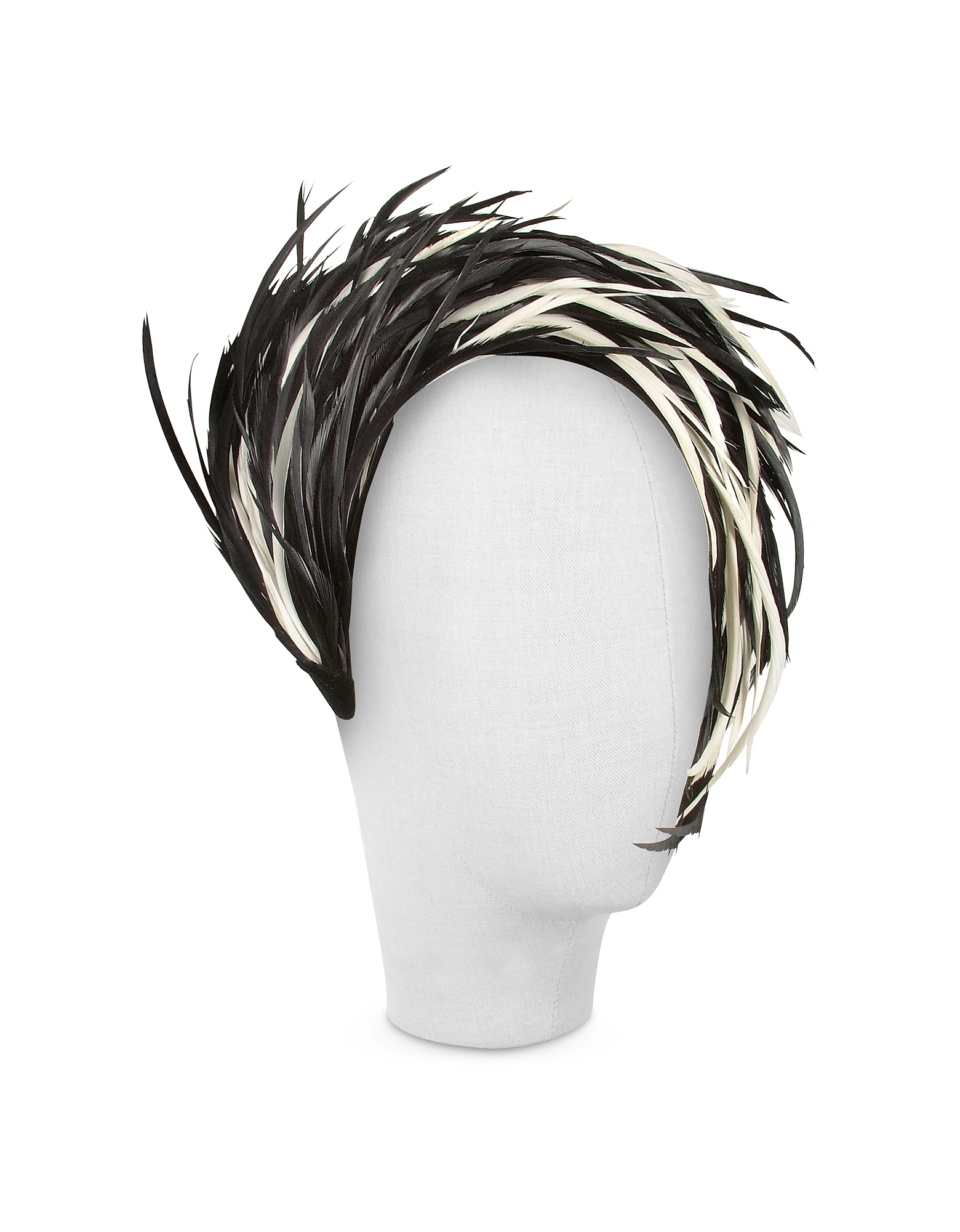 Aurora - Black and White Feather Headband от Forzieri.com INT