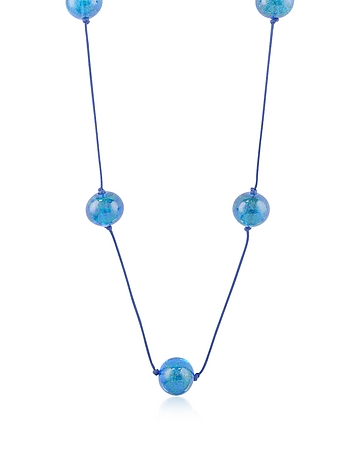 Naoto - Blue Glass Bead Long Necklace