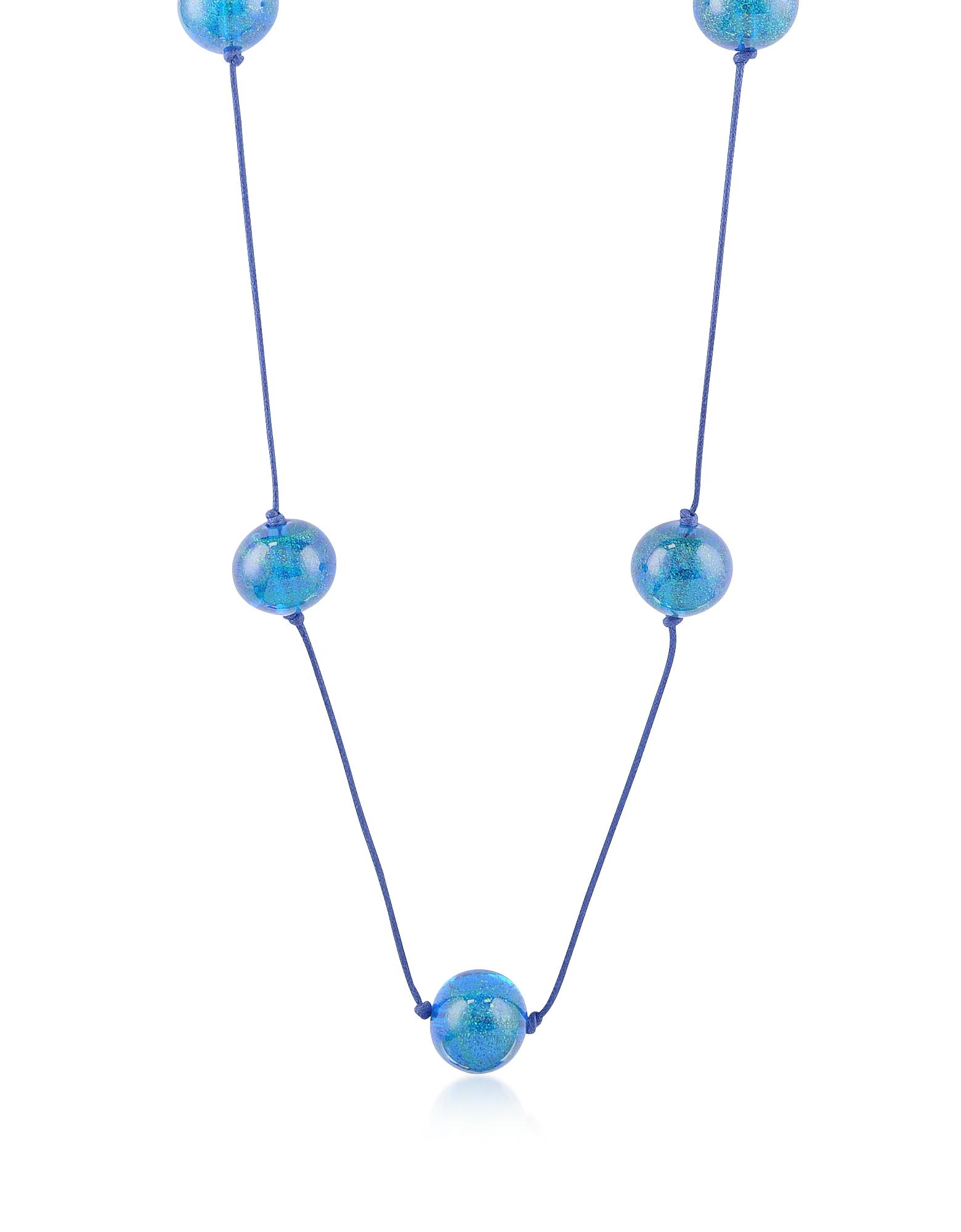 Длинное Ожерелье с Синими Стеклянными Бусинками