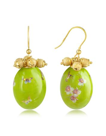 Naoto Alchimia - Oval Gold Foil Drop Earrings