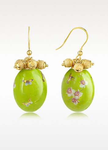 Alchimia - Oval Gold Foil Drop Earrings - Naoto
