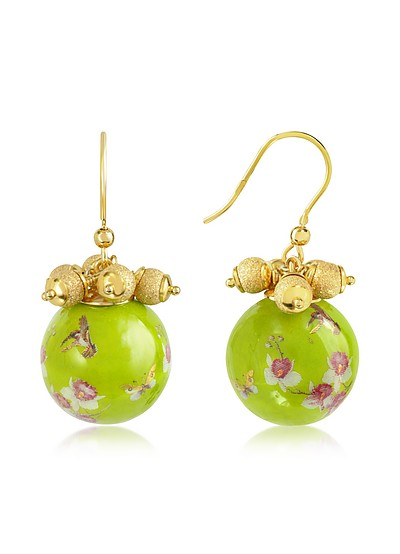 Alchimia - Round Gold Foil Drop Earrings - Naoto