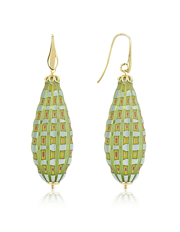 House of Murano - Old Venice - Oval Gold Foil Drop Earrings