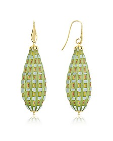 Old Venice - Oval Gold Foil Drop Earrings - House of Murano