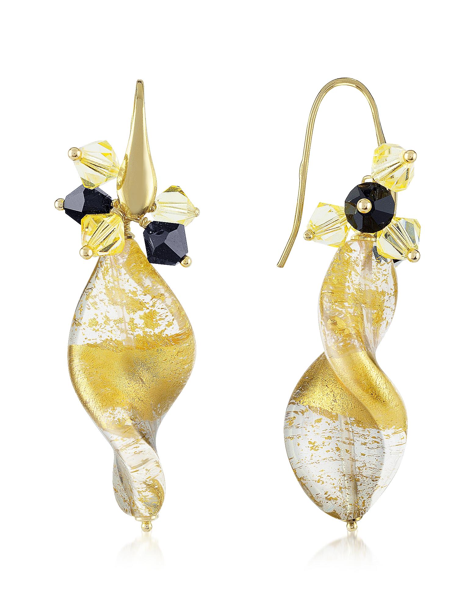 Briciole D'Oro - Серьги с Золотым Листом и Кристаллами