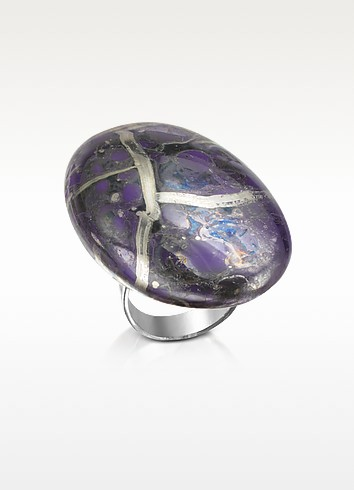 Alchimia - Purple and Silver Foil Sterling Silver Ring - Naoto