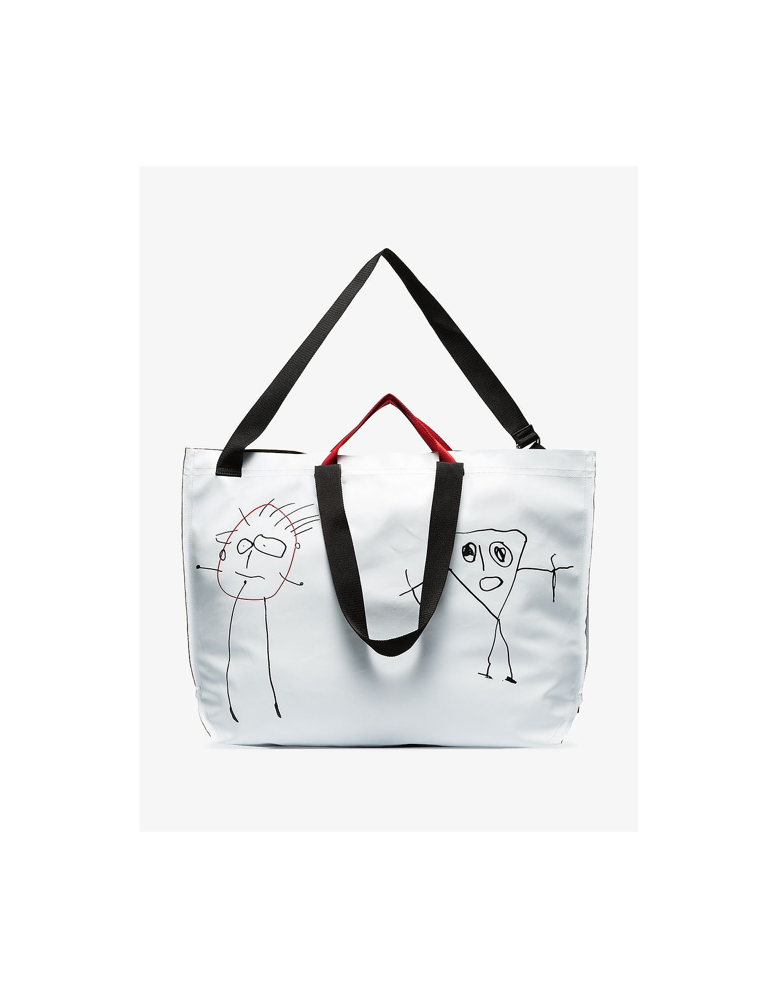 Plan C Designer Handbags, White Large Sketch Tote Bag