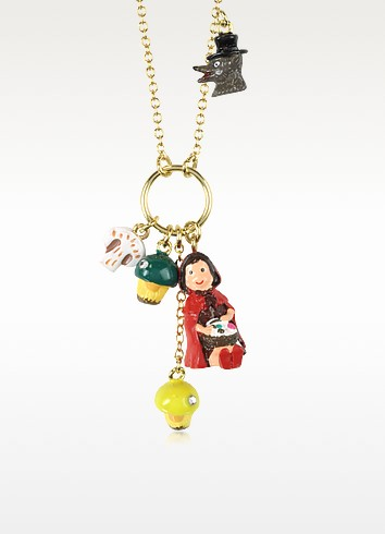 Chaperon et Champignons  Little Red Riding Hood, Wolf and Mushrooms Necklace - N2