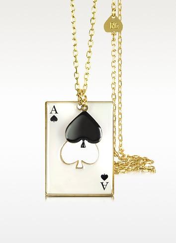 Black Heart w/ Card Charm Necklace - N2