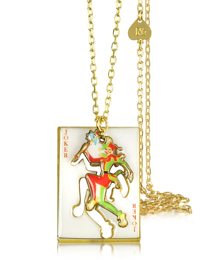 Joker w/Card Charm Necklace - N2