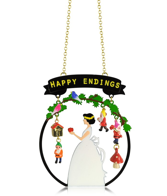 Snow White 'Happy Endings' and 3 Dwarves Long Necklace - N2