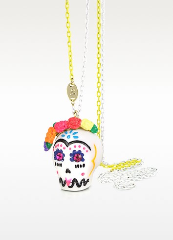 Frida Kahlo Skull Long Necklace - N2
