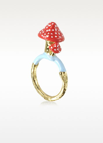 Chaperon et Champignon Red Polka-Dot Mushroom Ring - N2
