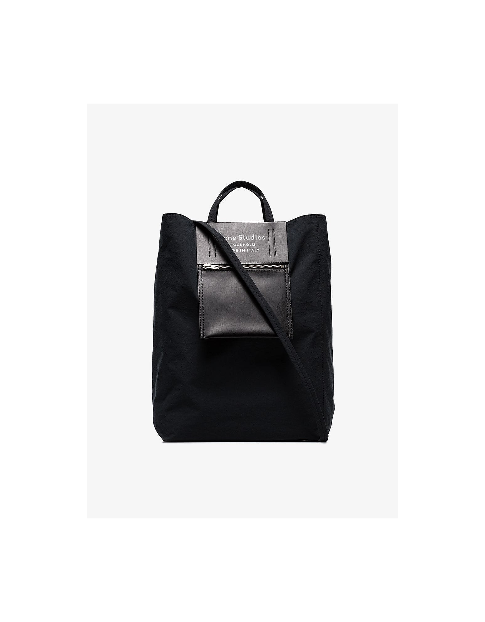 Acne Studios Designer Handbags, Black Baker leather and canvas tote bag